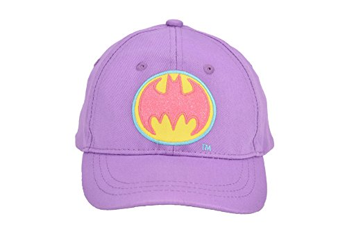 DC Comics Batgirl Lavender Baseball Cap with Pink/Yellow Batgirl Logo, Adjustable Toddler Girls, Ages 2-5