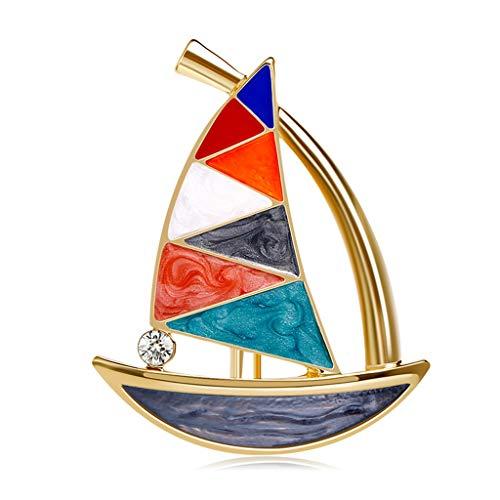 liangzishop Damen Brosche Kleine Segelboot-Brosche glänzende künstliche Kristall Cut Brosche Schmuck Accessoires for Frauen-Mädchen Brosche Dekoration (Color : A)