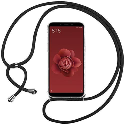 Ingen Funda Xiaomi Mi A2 / 6X-Carcasa Xiaomi Mi A2 / 6X con Colgante,Transparente Suave Silicona TPU Bumper Rubber Prueba de Golpes Caso para Xiaomi Mi A2 / 6X Case 5.99Pulgadas-Negro