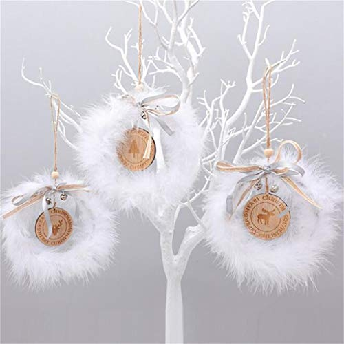 Hohaski Christmas White Feather Wood Christmas Tree Pendant Elk Elderly Ornament, Christmas Ornaments Advent Calendar Pillow Covers Garland Tree Skirt Gift Bags DIY