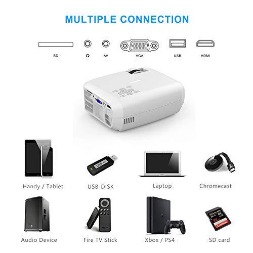 "TOPVISION Mini Beamer, Native 720P Heimkino Beamer Unterstützt 1080P Full HD, 5000 Lumen Video Beamer mit 240"" Display, 60000 Stunden LED Projektor Kompatibel mit HDMI/USB/SD/AV/VGA - 6"