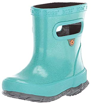 BOGS unisex child Skipper Waterproof Rain Boot Glitter - Turquoise 6 Toddler