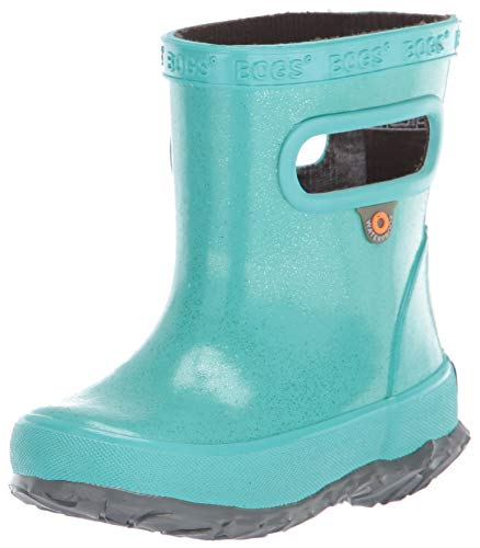 Bogs Kid's Skipper Waterproof Rubber Boys and Girls Rain Boot, Glitter-Turquoise, 4 M US Toddler