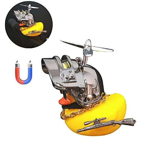 Pato amarillo con casco guapo tablero de instrumentos del coche decoración interior accesorios regalo para amigos familia pato amarillo decoración del coche