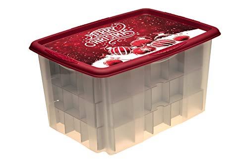 keeeper Aufbewahrungsbox mit Weihnachtsmotiv und Deckel, 55 x 39,5 x 29,5 cm, 45 l, Wika, Rot