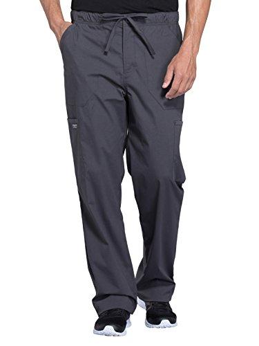 Cherokee Workwear Professionals Men's Tapered Leg Drawstring Cargo Scrub Pant, XL, Pewter