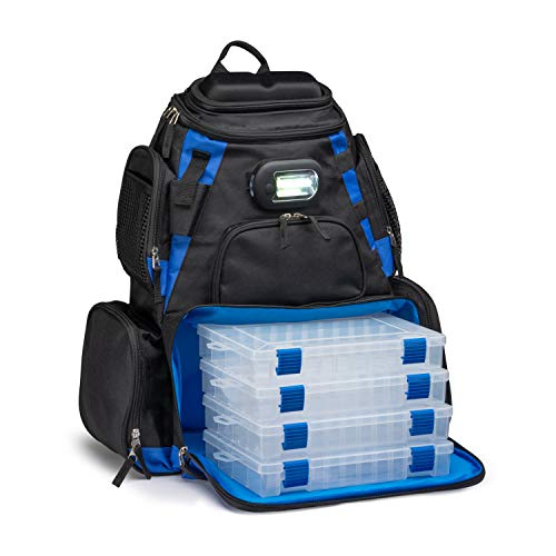 Vexan Fishing Removable LED Lighted Tackle Box Backpack with 4 3600 Trays Large Tackle Bag Storage and 4 Tackle Box (Black and Blue)