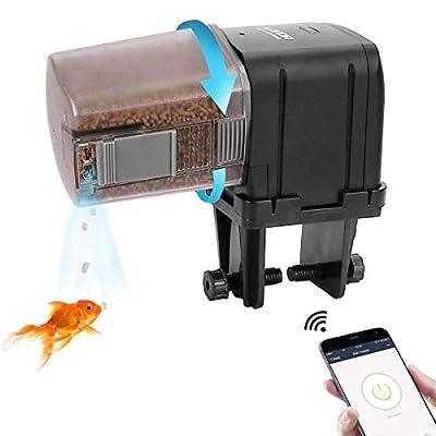 Lychee Automatischer Futterspender für Aquarien, WiFi-gesteuerter Timer, Fischfutterspender mit LCD-Display für Aquarien, Teich, Urlaub
