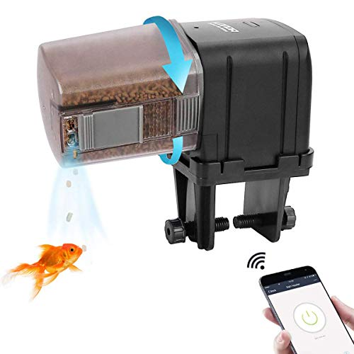 WiFi Control Automatic Fish Feeder with APP Aquarium Automatic Fish Feeder, WiFi Control Auto Fish Food Dispenser for Home Office