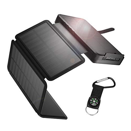 IEsafy Powerbank Solare 26800mAh, Caricabatterie Solare Portatile con 4 Pannelli Solari Pieghevoli 2 Porte Ricarica Rapida Caricatore Solare Impermeabile per Cellulare/iPhone/iPad/Tablet (Nero)