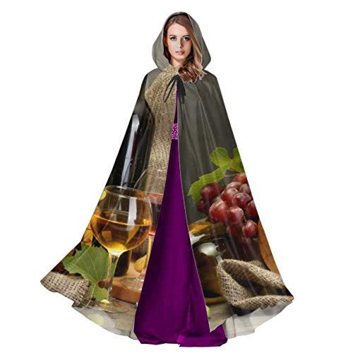 ZHANGhome Flasche Wein und Trauben auf Tisch Mantel Kapuze für Männer Cosplay Kapuzenmantel 59 Zoll für Weihnachten Halloween Cosplay Kostüme