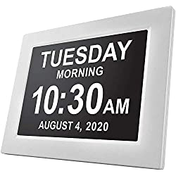 American Lifetime Newest Version, Day Clock Extra Large Impaired Vision Digital Clock with Battery Backup and 5 Alarm Options, White