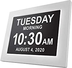 Key features - This unique 8 inch high resolution digital alarm clock clearly spells out the time, period of the day, full day of the week, month and date in large, clear letters with no confusing abbreviations Unique functions - The day clock by Ame...