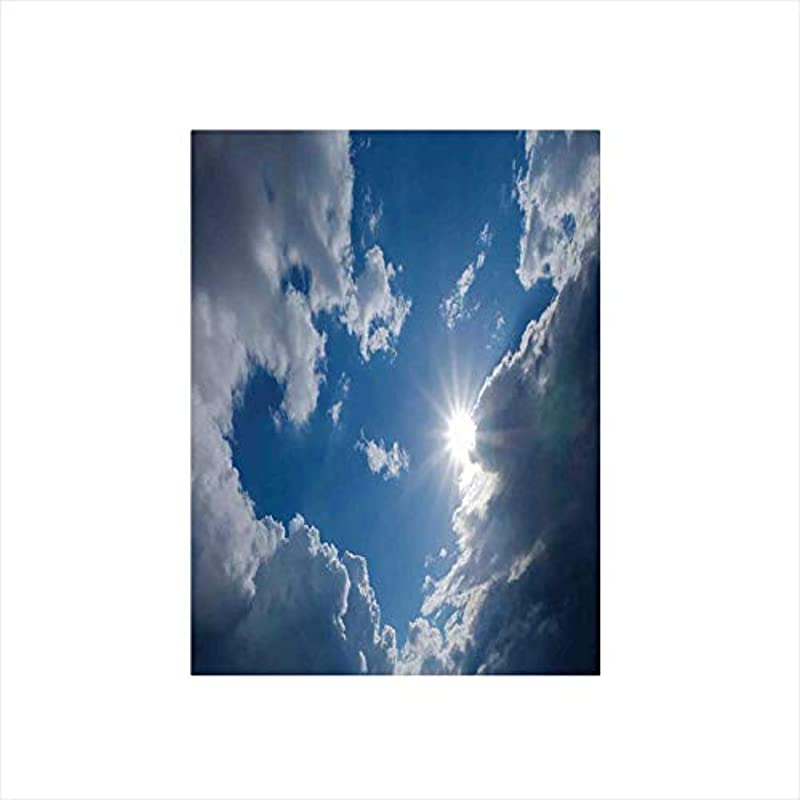 Ylljy00 Decorative Privacy Window Film Clear Weather Sky Sun On Sky With Clouds Solar Of Clean Energy Power Artwork No Glue Self Static Cling For Home Bedroom Bathroom Kitchen Office Decor Gray Blue