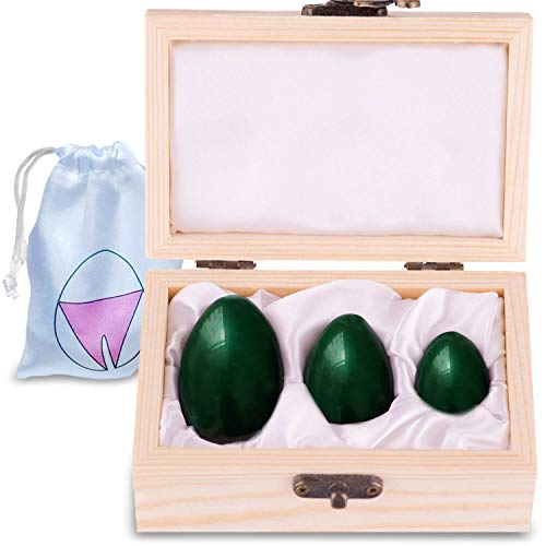 Genuine Nephrite Jade Yoni Eggs - Gift Box of 3 Yoni Egg, Predrilled Yoni Kegel Eggs to Gain Better Bladder Control & for Pelvic Control Exercises- Recommended Kegel Eggs for Women