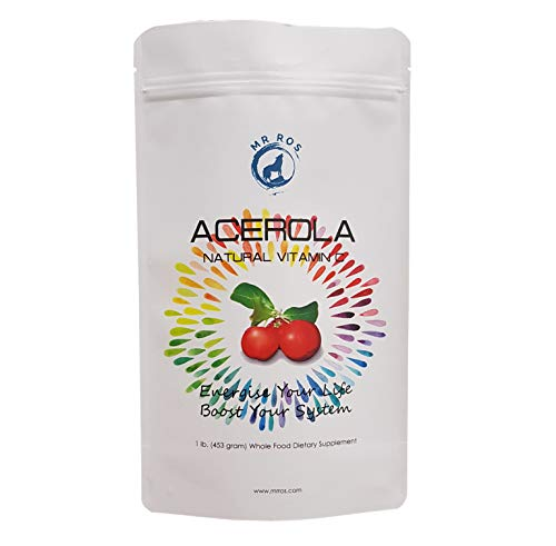Natural Vitamin C Vitamins Acerola Powder-1 Lb (16 Oz-453 Grams) by Mr Ros-Whole Food Vitamin C Powder-100% Pure from Organic Origin Nobel Prize Winner Linus Pauling Recommended