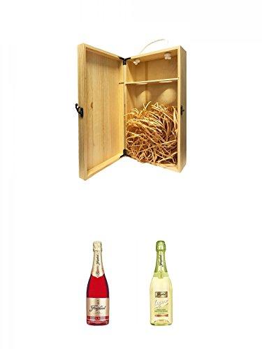 1a Whisky Holzbox für 2 Flaschen mit Hakenverschluss + Freixenet Carta Rotina Spanien 0,75 Liter + Freixenet Legero alkoholfrei Spanien 0,75 Liter