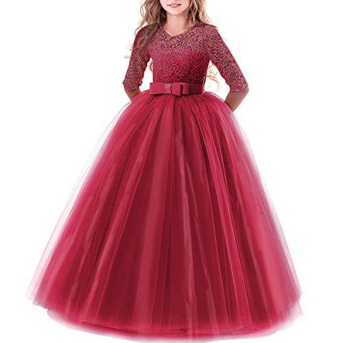 Vestido de niña de flores para la boda Princesa Largo Gala Encaje De Ceremonia Vestidos de Dama De Honor Fiesta Tul Bowknot Comunión Cumpleaños Bola Pageant Paseo Baile Maxi Cóctel Fotografía Vestir