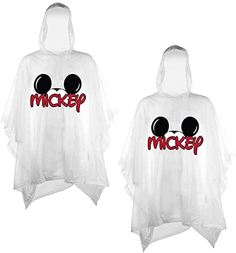 Disney 2-Pack Family Rain Ponchos, Mickey or Minnie Mouse, Adult & Youth (Mickey-Mickey, Youth)