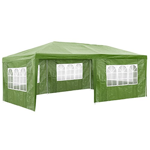 TecTake 800382-3 x 6m Gazebo Marquee, with 5 Sides, Pavilion Frame with Roof, ideal for Garden Party Festival Beer Tent (Green | No. 402304)