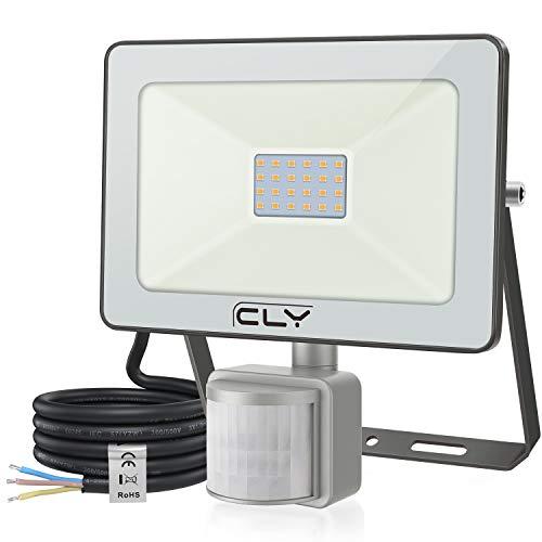CLV 15W Faretto con Sensore de Movimento,1500 LM Faretto LED da Esterno con PIR Sensore di Movimento 3000K,Faro Impermeabile IP66 per Giardino,Terrazza, Patio[Classe di efficienza energetica A++]