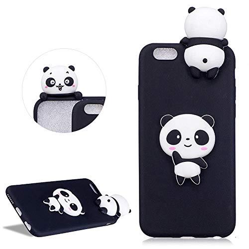 DasKAn Karikatur 3D Panda Silikon Hülle für iPhone 6/6S, Lustig Süße Tiere Muster Ultra Dünn Schlank Matt Weich Gummi Rückseite Handyhülle Stoßfest Kratzfest Flexibel Schutzhülle,Schwarz#2