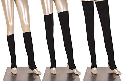 DANCEYOU 76cm Donna Danza Scaldamuscoli Leggings per Inverno Danza Ballet Maglia Gamba Calze Caldi Coprendo il Ginocchio Gambale Calzini con Staffa, Nero