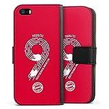 DeinDesign Klapphülle kompatibel mit Apple iPhone SE (2016-2019) Handyhülle aus Leder schwarz Flip Hülle FC Bayern München Fanartikel Meister