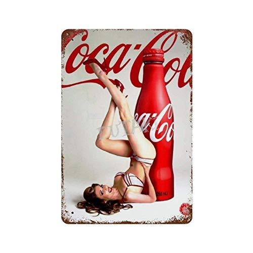 XREE Coca Cola Sexy Strümpfe 3 Art Blechschild Vintage Wohnaccessoires displate Blechschilder Retro Metallschilder Eisenmalerei rostiges Poster 30 x 40 cm