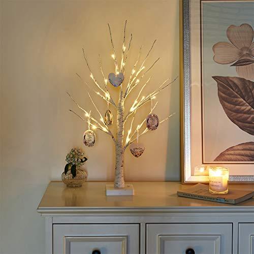 EAMBRITE 60cm Birke Baum LED Bäumchen Innenbeleuchtung Haus Tisch Lichterbaum für Innen Weihnachtsdeko Karten-Pendant mit Ästen Dekobaum Batteriebetriebene Warmweiß