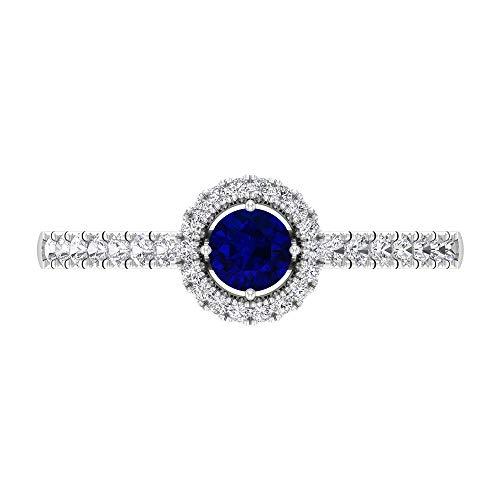 Anillo de compromiso halo con diamantes y zafiros azules, anillo solitario con piedra lateral (5 mm zafiro azul), 14K Oro blanco, Size:EU 50