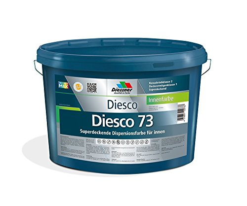 Diesco 73 Premium Innenfarbe Weiß sehr gut Deckend Wandfarbe Dispersionsfarbe (1 Liter)