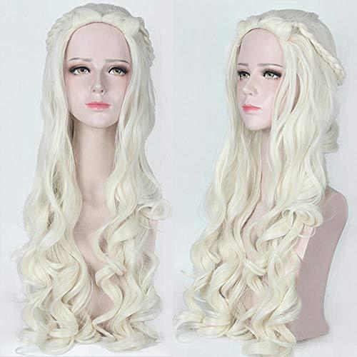 Alice au pays des merveilles White Queen Alice Silver Grey Longs cheveux bouclés cosplay Lady Wig, Beige