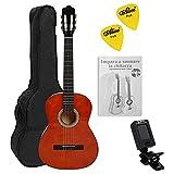 NAVARRA NV11PK - Guitarra Clásica, Incl. Funda con correas tipo mochila y bolsillo para partituras/accesorios, Cliptuner pantalla LCD de aguja con iluminación de fondo, miel con bordes negro, 4/4