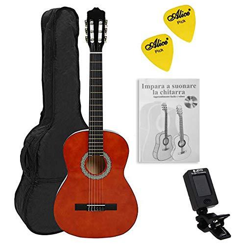 NAVARRA Konzertgitarre 4/4 Starter Set, incl. Tasche leicht gepolstert mit Rucksackriemen, Lehrbuch und CD, Cliptuner (Stimmgerät) LCD Nadelanzeige, 2 Plektren, honigfarben mit schwarzen Randeinlagen