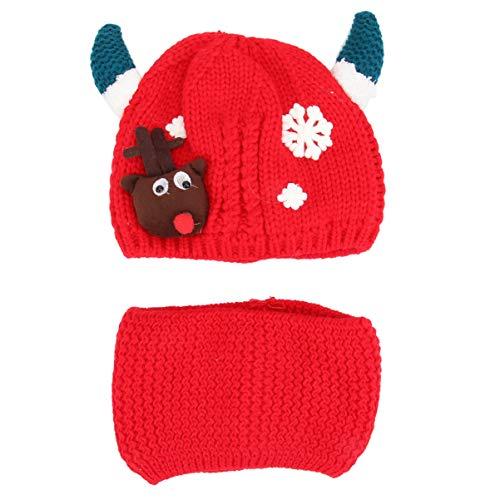 BESTOYARD 2pcs Kids Christmas Knitting Hat Warm Neck Gaiter Red Elk Antler Hat Xmas Reindeer Costume Wool Cap Headwear