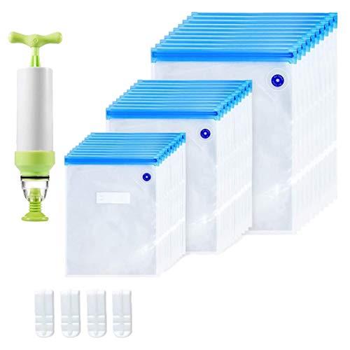 Cobeky Sous Vide Bags 35 unidades de bolsas reutilizables de almacenamiento de alimentos al vacío eléctrico con bolsa sellada de 3 tamaños, 1 bomba de mano, 4 clips
