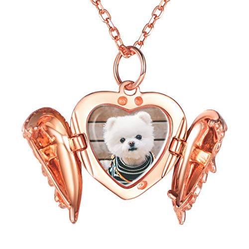 Custom4U Personalised Locket,Heart Necklace to Hold Photo Gifts for Girls,Rose Gold Locket Necklace That Holds Pictures
