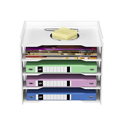PUNCIA Organizador de Papel A4 de Oficina para Soporte de Archivos de Escritorio Bandeja de Cartas y Estante de Almacenamiento de Documentos