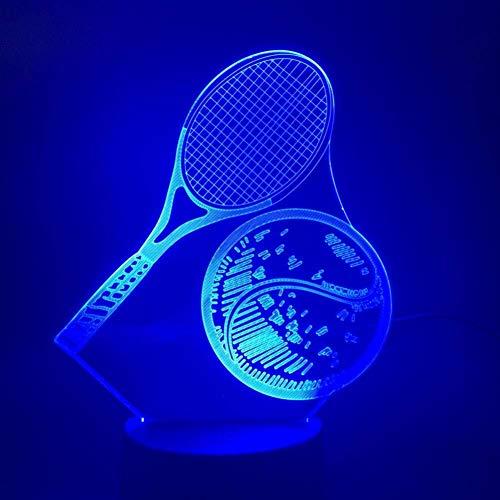 3D Illusion LED Tennis Racket lampe tactile multi-couleur Chambre capteur de chevet Bureau décoratif Lampe Kids Festival cadeaux d'anniversaire de charge USB lumière de nuit