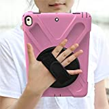 HHF Pad Accesorios para iPad Pro 9.7, New 360 Armor Kids Cover 360 Rotation Hand Strap Silicon Cover PVC para iPad Pro 9.7 A1673 A1674 (Color : Pink)