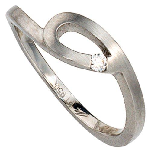 Ring Damenring 950 Platin mattiert mit Diamant Brillant Platinring mit Schlaufe, Ringgröße:Innenumfang 54mm ~ Ø17.2mm