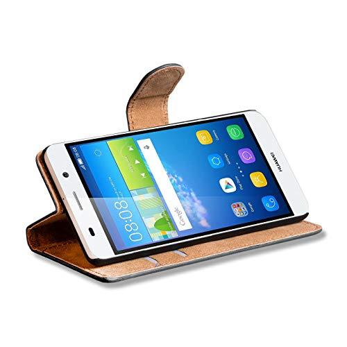 Verco Y6 2 Hülle, Handyhülle für Huawei Y6 II Tasche PU Leder Flip Case Brieftasche - Schwarz - 3