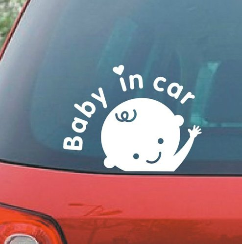 Car Decal / Sticker, Car Decal Sticker - Baby in Car Baby Safety Sign Car Sticker, White