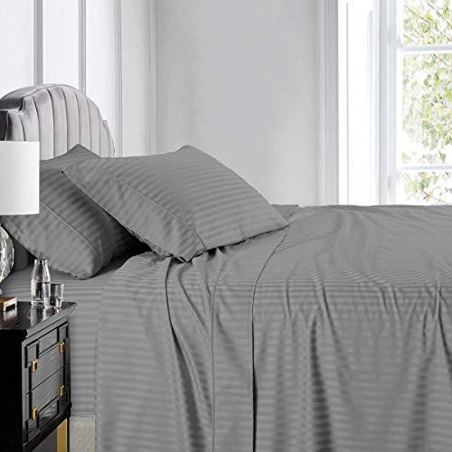 Royal Hotel Stripe Sheets - Split-King: Adjustable...