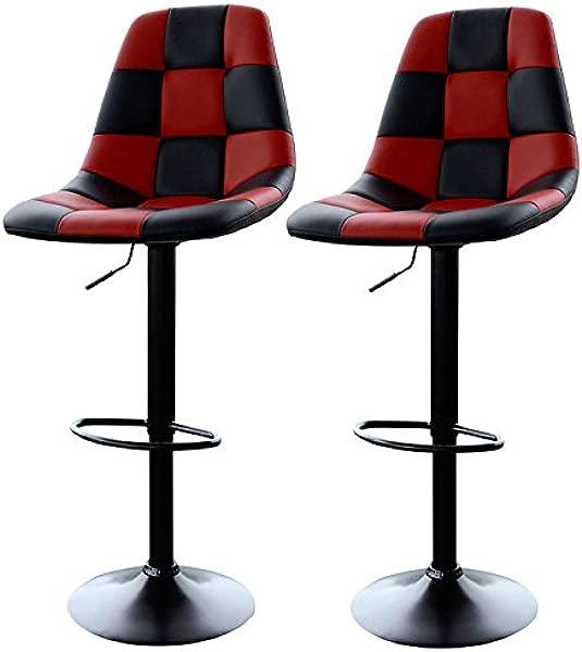 黑色和红色布法罗工具酒吧凳 2 件套