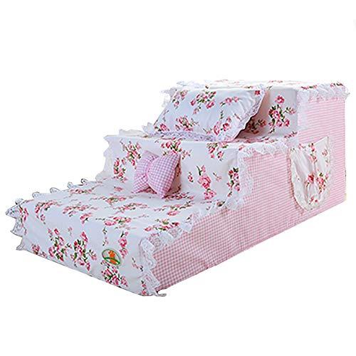 Hund Treppe mit abnehmbaren rosa Blumen Cover/Arthritis Haustiere Aid Rampen/for Schlafzimmer Bett & Sofa im Wohnzimmer (Color : 3-Step 30cm Tall)