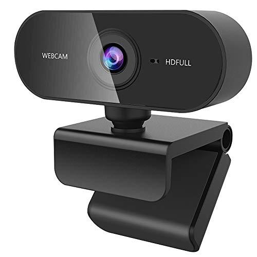 Guijiyi Webcam per PC, Full HD Webcam 1080p con Microfono a Cancellazione di Rumore, USB 2.0 Videocamera per PC, Laptop y Mac, con Base Girevole a 360 °, per Videochiamate Giochi Streaming Live