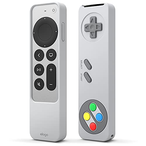 elago Funda Retro R4 Compatible con Apple TV 4K Siri Remote 2nd Generación (2021), Diseño de Controlador Clásico [No Funcional], Cordón Incluido, Protección contra Caídas (Gris Claro)
