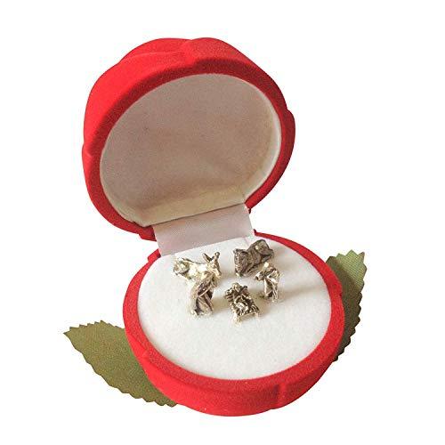 Pocket crib nativity scene in a red velvet rose gift box Jesus Mary Joseph xmas gift